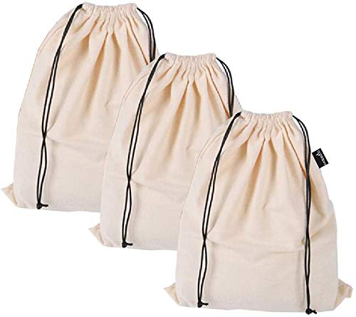 Misslo Set of 3 Cotton Breathable Dust-proof Drawstring Storage Pouch Multi-functional Bag. Pack 3 S