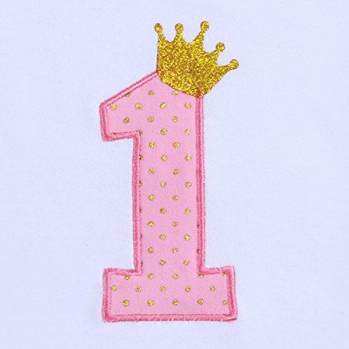 FYMNSI Infantil Bebé Niña 1er Primer Cumpleaños Verano Manga Corta Mameluco Romper Body Tutú Falda con Bowknot Diadema 3pcs Traje de Pijama 1 Año Fiesta Fotografía Vestir Regalo Rosa #1