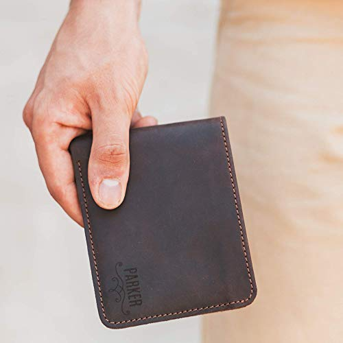 Leather Wallets For Men - Bifold Slim Front Pocket Wallet - Personalized Wallet - Gift for Husband Dad Father in Law