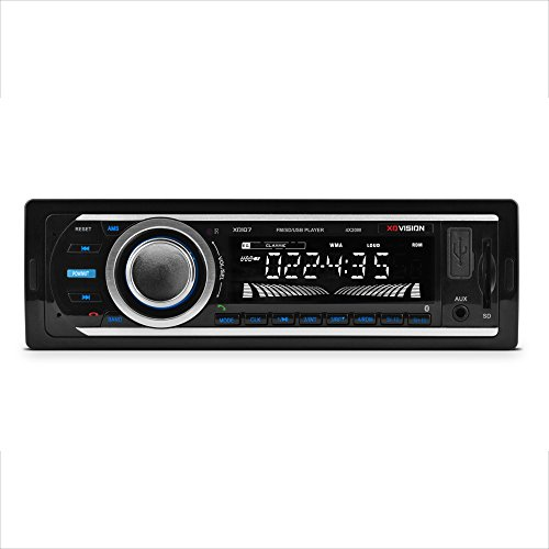 Car Stereo, XO Vision Wireless Bluetooth Car Stereo Receiver with 20 watts x 4, USB Port , SD Card Slot, and MP3 and FM [ XD107 ],BLACK