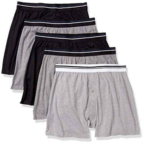 Amazon Essentials 5-Pack Knit boxer-shorts, Schwarz/Anthrazit/Grau Heather, 45-47