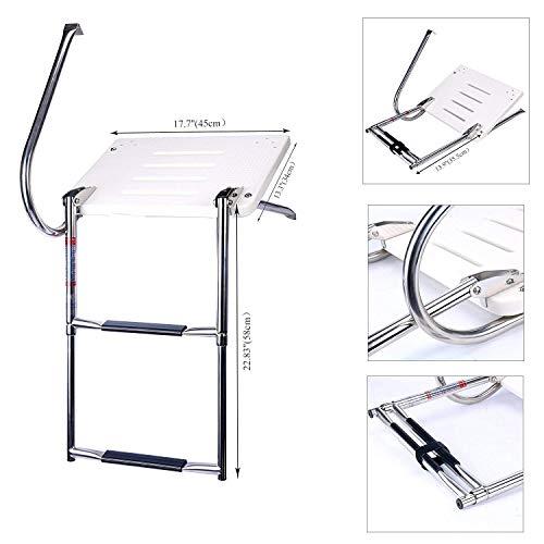 NiceDD Escalera plegable de acero inoxidable de 2 pasos con plataforma de fibra de vidrio para nadar fuera de borda (9924SOB2) (BK-0096)