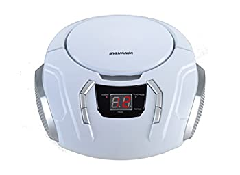 Sylvania SRCD261-C-WHITE Portable CD Boombox with AM/FM Radio