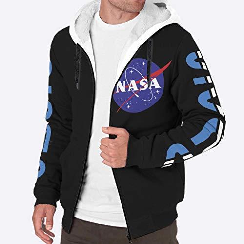 Chanpin NASA Kapuzenpullover mit 3D-Digitaldruck, Fleece, mit Fronttasche für Herren, NASA Meatball Logo Gr. S, weiß