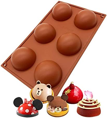 6 Holes Silicone Mold For Chocolate Cake Jelly Pudding Handmade Soap Round Shape Half Sphere product image