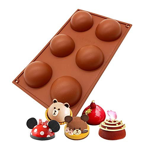 6 Holes Silicone Mold For Chocolate, Cake, Jelly, Pudding, Handmade Soap, Round Shape Half Sphere Mold Non Stick, BPA Free Cupcake Baking Pan 1 Pc (1 Pcs)