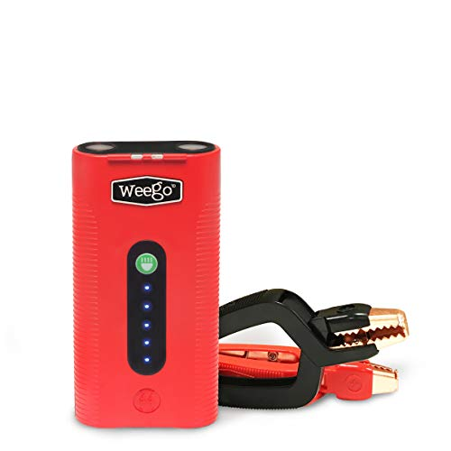 Weego 44.1 Jump Starting Power Pack (New 2019 Model) 2100 Peak 440 Cranking Amps High Performance Lithium Ion Jump Starter Quick Charges Phones 500 Lumen LED Flashlight IP 65 Water Resistent
