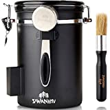 Siwanamu Coffee Canister, Airtight Stainless Steel Food Storage Container with Date Tracker, Brush...