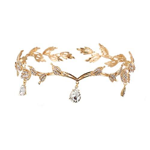 Lurrose Cristal De Mariée Tiara Déesse Feuille Couronne Front Bandeaux Pour Mariage (doré)