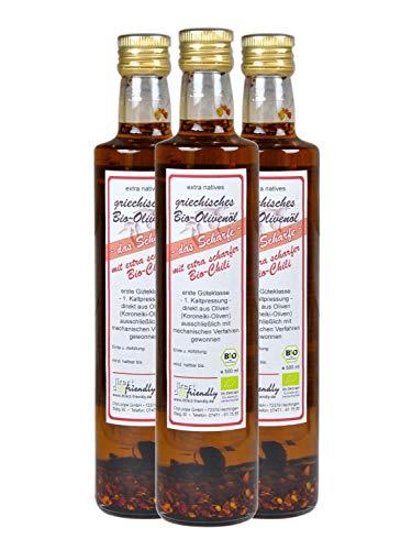 direct&friendly Bio Olivenöl mit extra scharfer Bio Chili (3 x 500 ml)