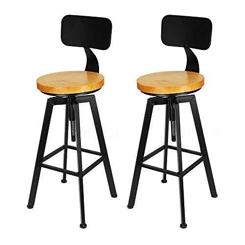 TAN 2pcs 64-84cm Taburete de Bar de Madera Industrial Silla Alta Retro con Respaldo, Taburete de Bar de Madera + Silla de Respaldo de Metal