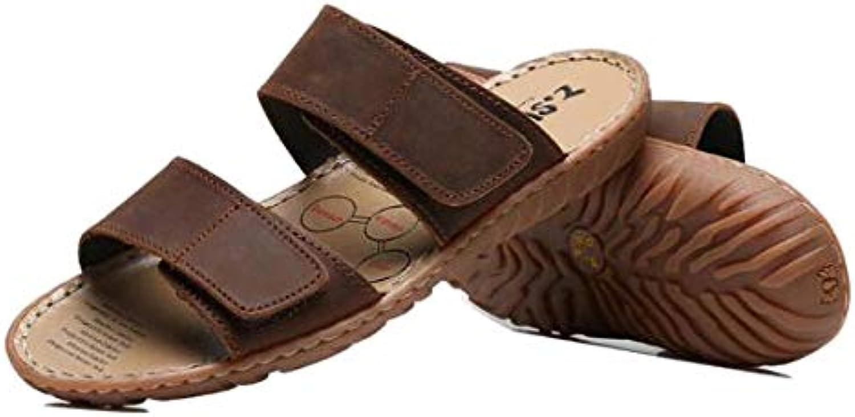 Men's Plus Size Slippers, Park Walking Sandals   Open Toe Slippers   Leather Upper   EVA Plastic Non-Slip Sole
