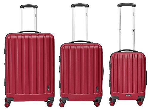 Packenger Kofferset - Velvet - 3-teilig (M, L & XL), Rot, 4 Rollen, Koffer mit TSA- Schloss und Erweiterungsfach, Hartschalenkoffer (ABS)