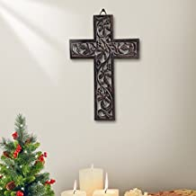 Wooden Wall Hanging Cross Handmade Antique Design Religious Altar Home Living Room Décor Accessory (Design 1)