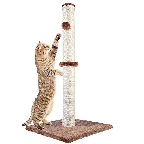 Dimaka 73 cm Groß Ultimate Kratzpsäulen für Katzen, Kratzpsäulen für Katzen,Sisalstamm, Ersatzstamm für Kratzbaum,Kratzbrett mit Plüsch (Braun)