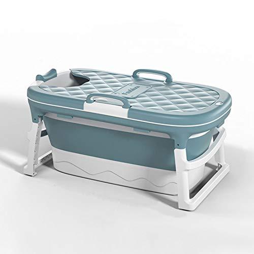 Bañera Plegable, bañera portátil para Adultos, Adulto y niño con una bañera plástica Independiente, Ducha de Seguridad, protección Antideslizante, bañera de hidromasaje cómoda,Azul