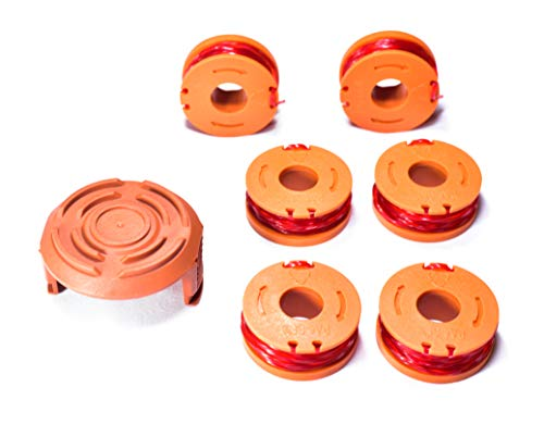 LBK 6-Pack Replacement 10-Foot Grass Trimmer/Edger Spool Line and 1-Pack Cap, Compatible Model Worx WA0010 & 50006531