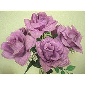 "Silk Flower Arrangements 2 Bushes Open Rose 7 Artificial Silk Flowers 15"" Bouquet SN039 Lite Lavender"