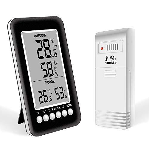 Termómetro Higrometro Digital Interior Exterior Nevera Termohigrometro con LCD Pantalla Grande Medidor Waterproof Inalámbrico Sensor Memoria Máxima/Mínima Función de Alarma