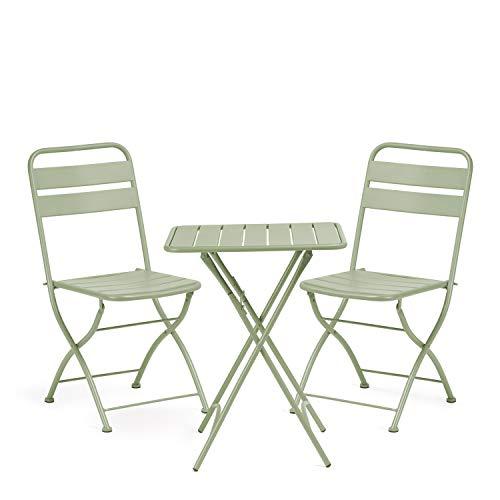 SKLUM Pack Mesa Plegable para Exterior (60x60 cm) Janti & 2 Sillas Plegables Janti Acero Celadón - (Elige Color)