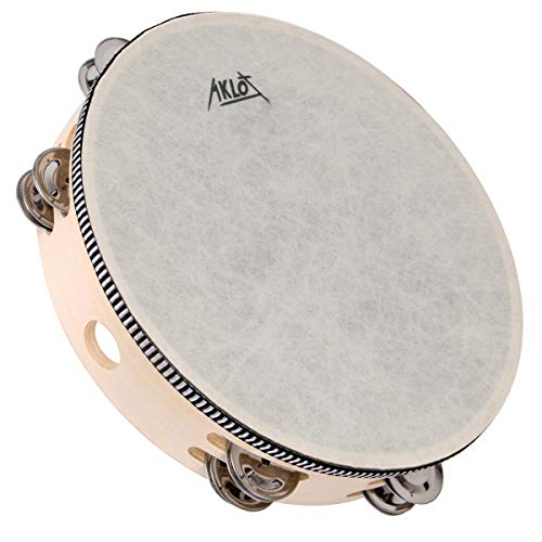 """AKLOT 10""""Tamburin Handtrommel 8 Paar zweireihige Metallglocke Jingles Buche Schlagzeug Musical Lehrinstrument für Partykinder Tanz & Gesangsbegleitung"""