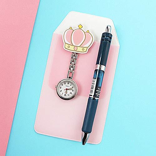 LLRR Enfermera Clip Reloj De Bolsillo,Nightnómetro de Clip Impermeable Lindo Simple, Examen de Estudiante, Pecho Gris,Pulsera Fob Reloj