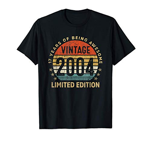 17 Yrs Old Gift Vintage 2004 Limited Edition 17th Birthday T-Shirt