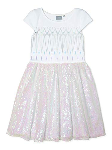 Disney Girl's Elsa and Anna Frozen Ballerina Tutu Ruffle Skirt Dress, Glitter White, L (10/12)
