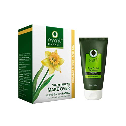 Organic Harvest Combo of Organic Shield (Anti Tan) Facial Kit (50gm) and Acne Control Face Wash (50ml), ECOCERT & PeTA Certified, Paraben & Sulphate Free