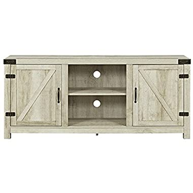 WE Furniture W58BDSDWO Barn Door TV Stand