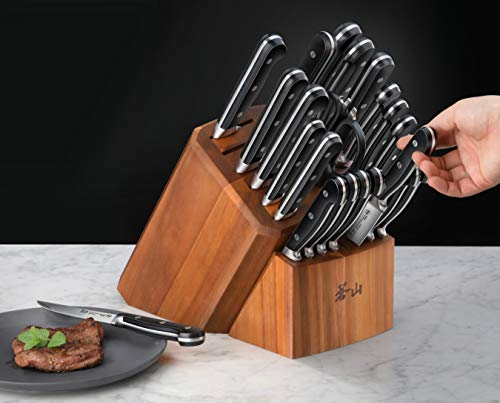 Cangshan V2 Series 1024128 German Steel Forged 23-Piece Knife Block Set, Acacia