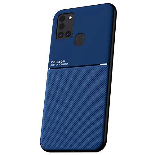 LUSHENG Funda para Samsung Galaxy A21S, Estuche Anti-Caída de TPU Suave para Galaxy A21S (6.5'), [Excelente Tacto] Placa Metálica Magnética Invisible Incorporada - Azul