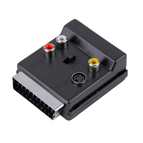 MERIGLARE Conmutador Convertidor de Adaptador de Audio RGB Scart a Compuesto 3RCA S Video AV TV