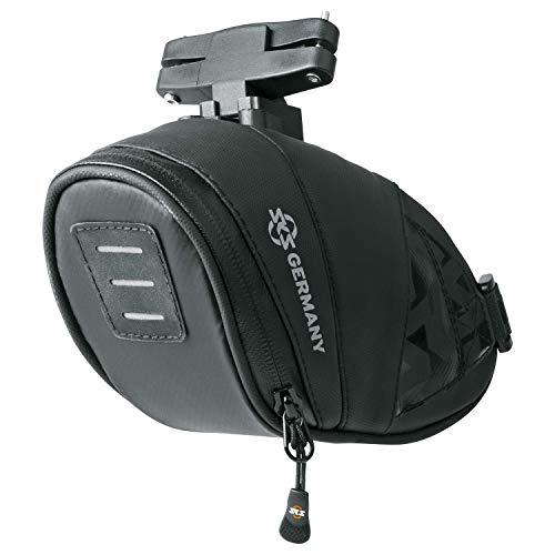 SKS GERMANY EXPLORER CLICK 800 Fahrradtasche, Fahrradzubehör (Satteltasche aus gummiertem, wasserabweisendem Gewebe, laminierte Reißverschlüsse mit ergonomischem Easy-Zip, Volumen: 0,8 l), schwarz
