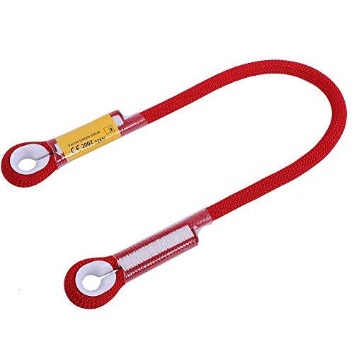 Corda Esterna di Arrampicata All\'Aperto di Sopravvivenza del Diametro 10.5mm Cavo di Arrampicata con Cuscinetto Dell\'Anello (60CM-Rosso)