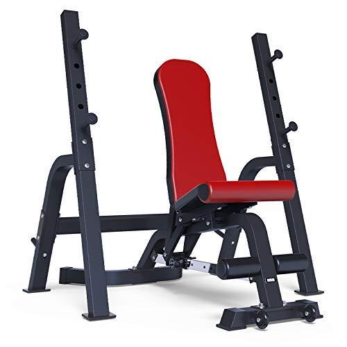Rindasr Krafttraining, Gewichte, Hantelablage Squat Rack-Ständer Indoor Trainingsgeräte Höhenverstellbarer Muskeltraining Gewichtheben Flach Übung Sportgerät Weiblich Männlich (Color : Red)