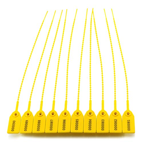 Leadseals(R) Yellow Numbered Security Zip Ties Plastic Tamper Evident Seal Tags Pull Tite Self-Locking Disposable Safety Locks for Fire Extinguisher (200 PCS)