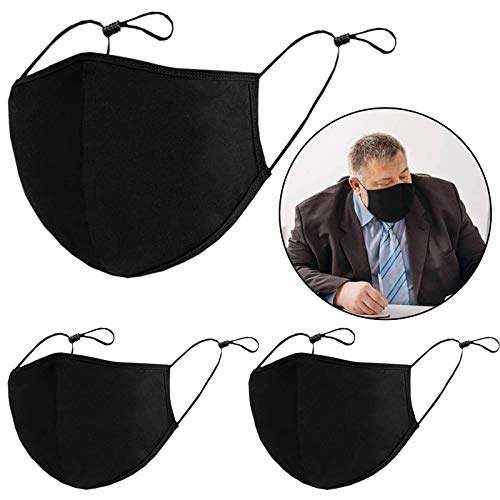 Safety Shields, Adjustable Size Washable Reusable Black Safety Shields, Prevent from Dust Pollen and Haze, for Camping, Running, Traveling(XL-3PCS)
