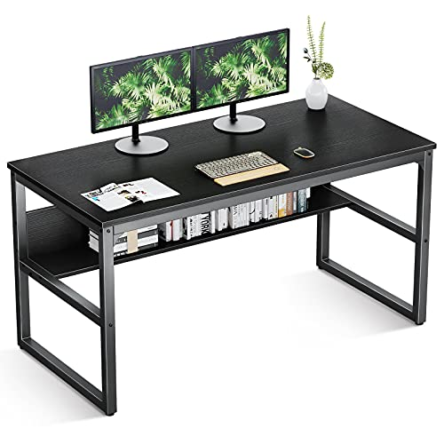 Modern Computer Desk with Bookshelf, 47.2'' Sturdy Office Desk