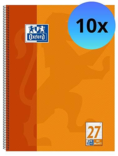 Oxford 100050360 - Bloc (A4+, con líneas, con recuadro, 4 taladros, micro perforado, 80 hojas, lote de 10 unidades)