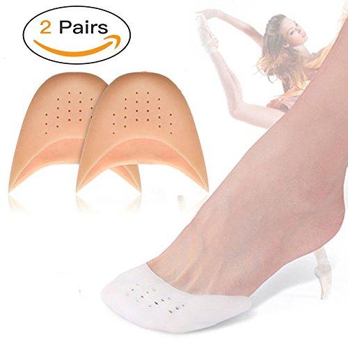 Almohadillas de gel de silicona para dedos de los pies, 2 pares de protectores para dedos de los pies de los zapatos, con agujero transpirable