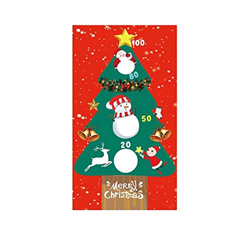 Fineday Punching Bag Throwing Game Flag Party Decoration Santa Claus Christmas Tree Flag, Home Decor, for Christmas Day (E)