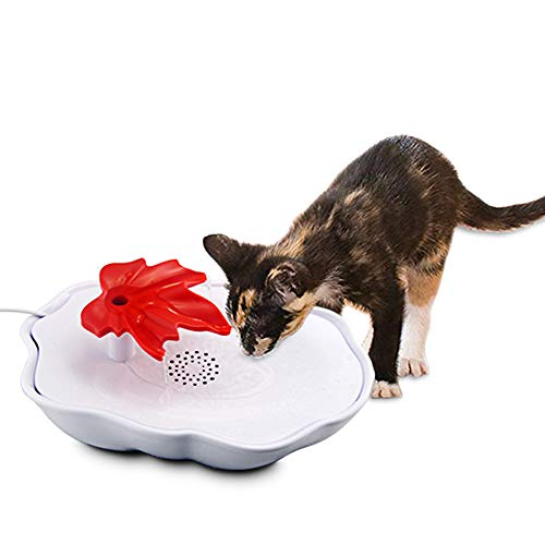 Pet Fountain Cat Water Dispenser, Super Quite Flower Drinking Fountain with USB Connector Filtered Water for Dogs, Cats, Birds and Small Animals, 60 oz. Water Capacity, Red