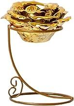 WLJBD Suporte de velas, suporte de vela para decoração de mesa de casa, decoração de mesa dourada, pétala de cerâmica de f...
