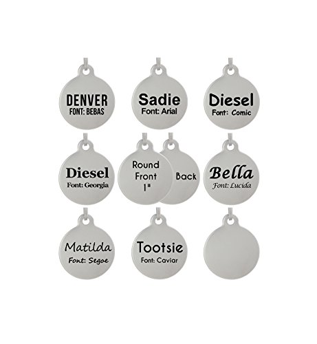 Laser Etched Stainless Steel Pet ID Tags Custom Personalized for Dog & Cat Paw Print Bone Round Tag (1' Round Double Sided)