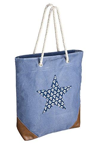 Canvas Tasche Umhängetasche mit Kunstlederbesatz, Kordel, Sternapplication mit Anker (blau)