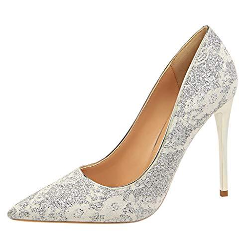 Inawayls Damen Plateaupumps Stiletto High Heel Pumps Elegante Braut Hochzeit Glitzer Klassische Pumps Party Schuhe