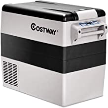 COSTWAY Car Freezer, 55-Quart Compressor Travel RV Refrigerator -4°F to 50°F, Portable and Compact Electric Vehicle 12V/24V Car Cooler Fridge, For Car, Home, Camping, Truck Party, Black and Grey