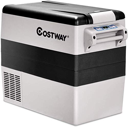 COSTWAY Car Refrigerator, 55-Quart Portable Freezer, -4°F to 50°F, Electric 12V/24V Car Cooler with 3 Levels, LCD Display, Shockproof Design, Travel RV Fridge for Home, Camping, Truck Party (44-Quart)