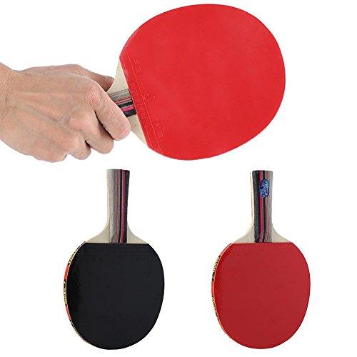 Keenso Tischtennisschläger, Tischtennispaddel Langer Griff Handshake 2 Seiten Pickel in Gummi + 7 Schichten Vollholz (rot und schwarz)